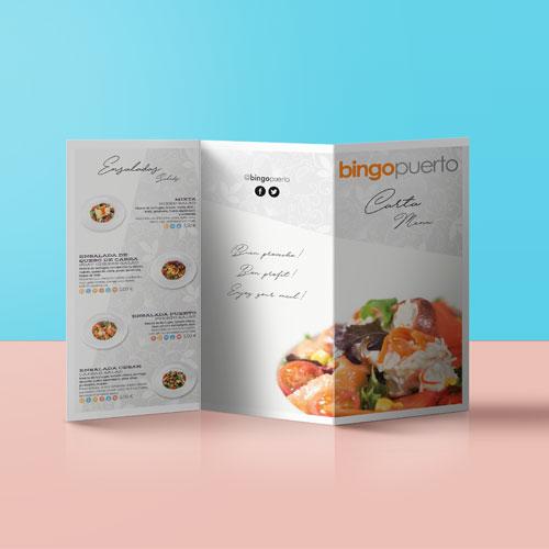 DIseño carta restaurante Bingo Puerto