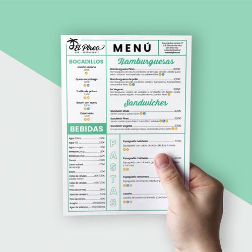 Diseño Carta Menú Bar